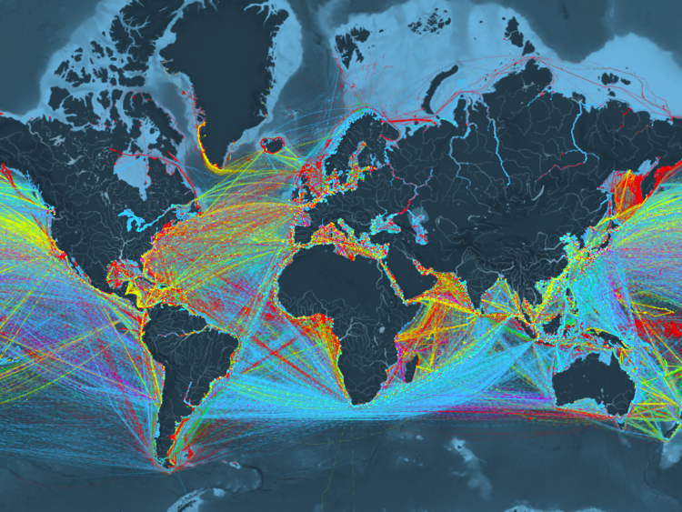 Map Of The World With Colored Shipping Routes